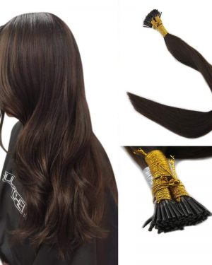 Chocolate Brown I tips hair extensions