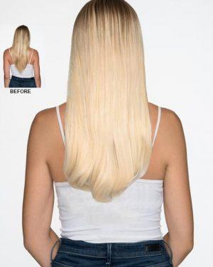Human Hair blonde halo hair extensions