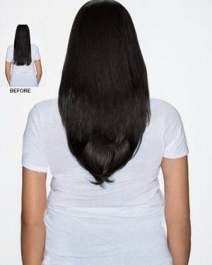 Human Hair off black halo hair extensions