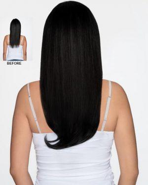 Human hair jet black halo hair extensions