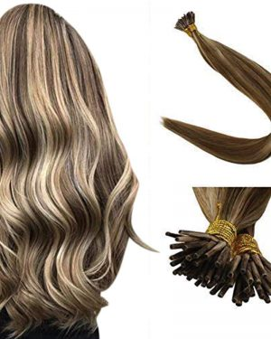 ash brown I tips hair extensions